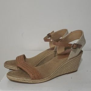 Lucky Brand Tan Leather Wedge Espadrille Sz 10